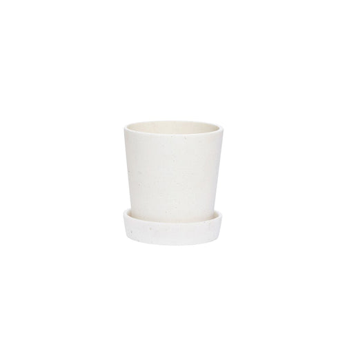 hubsch Plant pot with decorative saucer - White - small