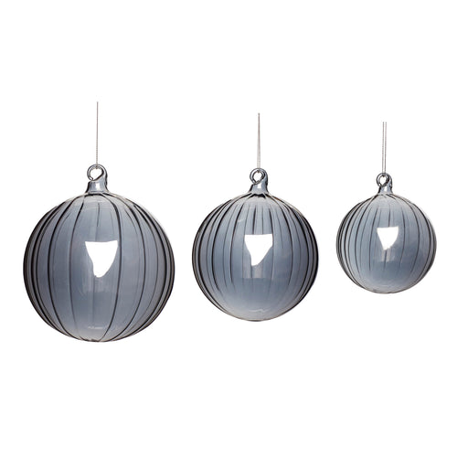 Hubsch - Smoked fluted glass baubles - Set of 3