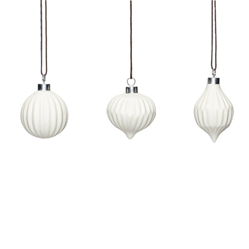hubsch White Fluted Ceramic Christmas Baubles Set of 3