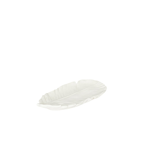 Hubsch - White ceramic feather tray - Medium