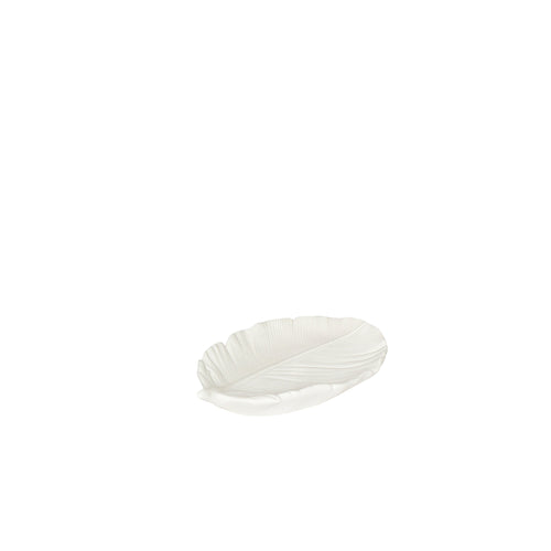 Hubsch - White ceramic feather tray - Small