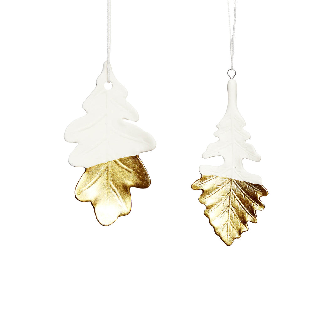 hubsch christmas Leaf porcelain white and gold Set of 2