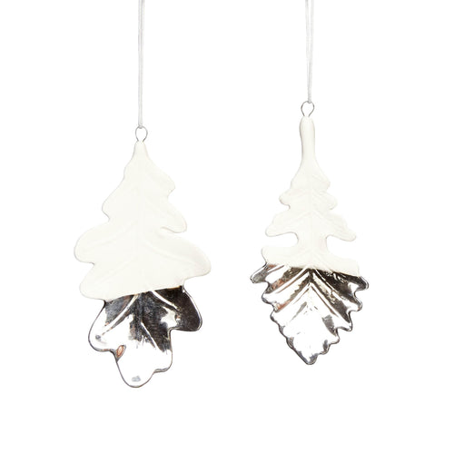 hubsch christmas Leaf porcelain white and silver Set of 2
