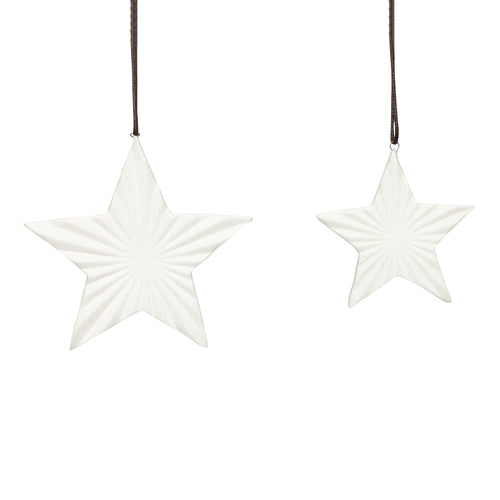 hubsch christmas Set of 2 white ceramic stars