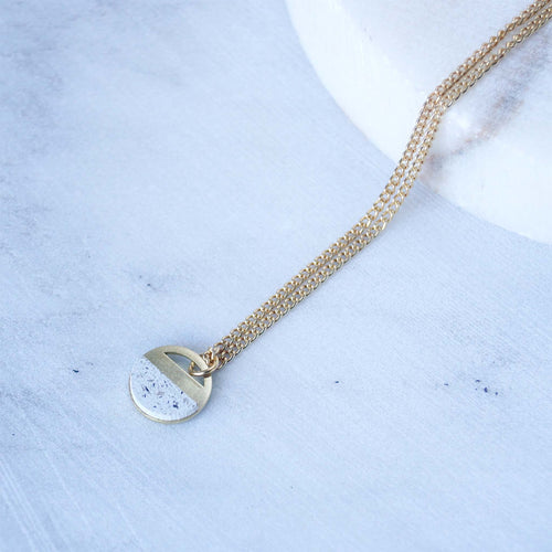 isa round brass jesmonite necklace white