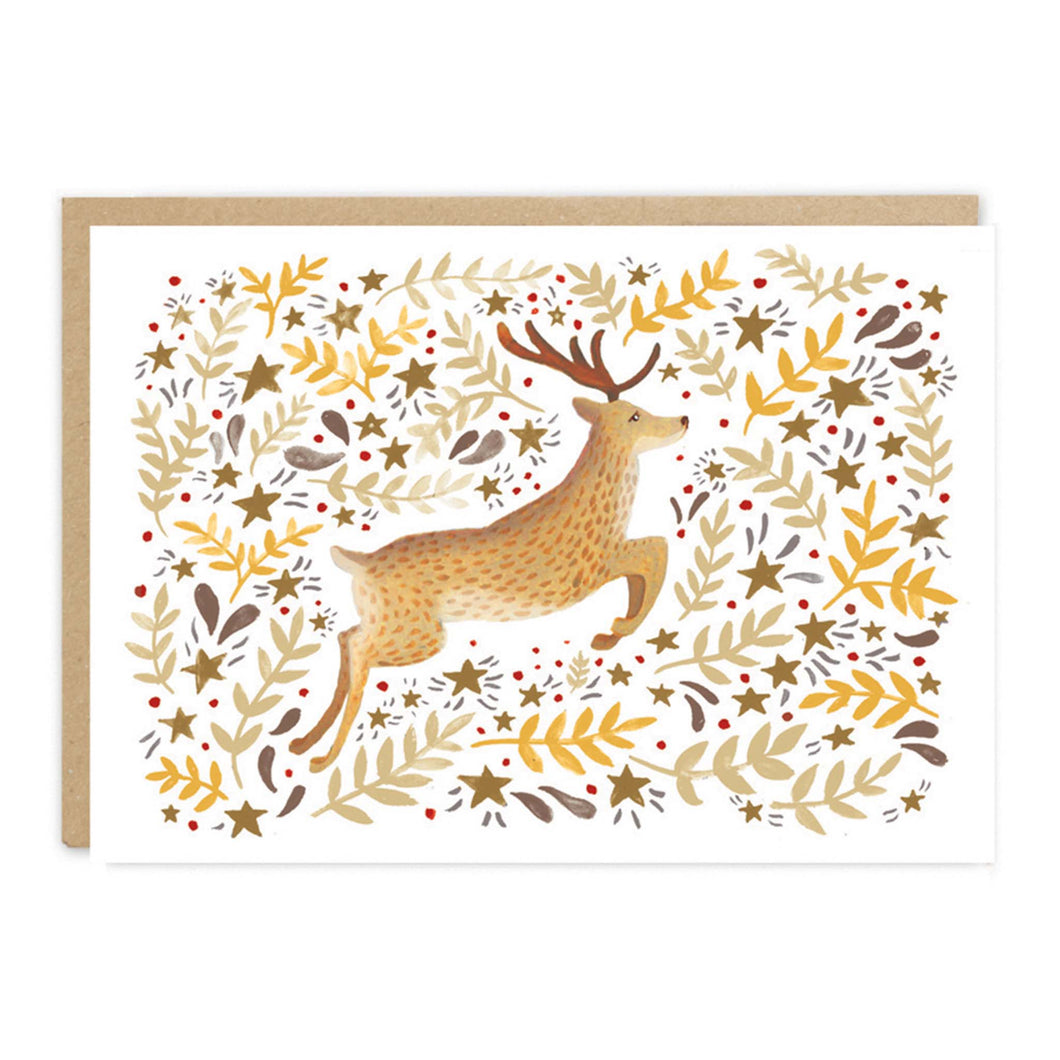 jade fisher christmas card leaping reindeer
