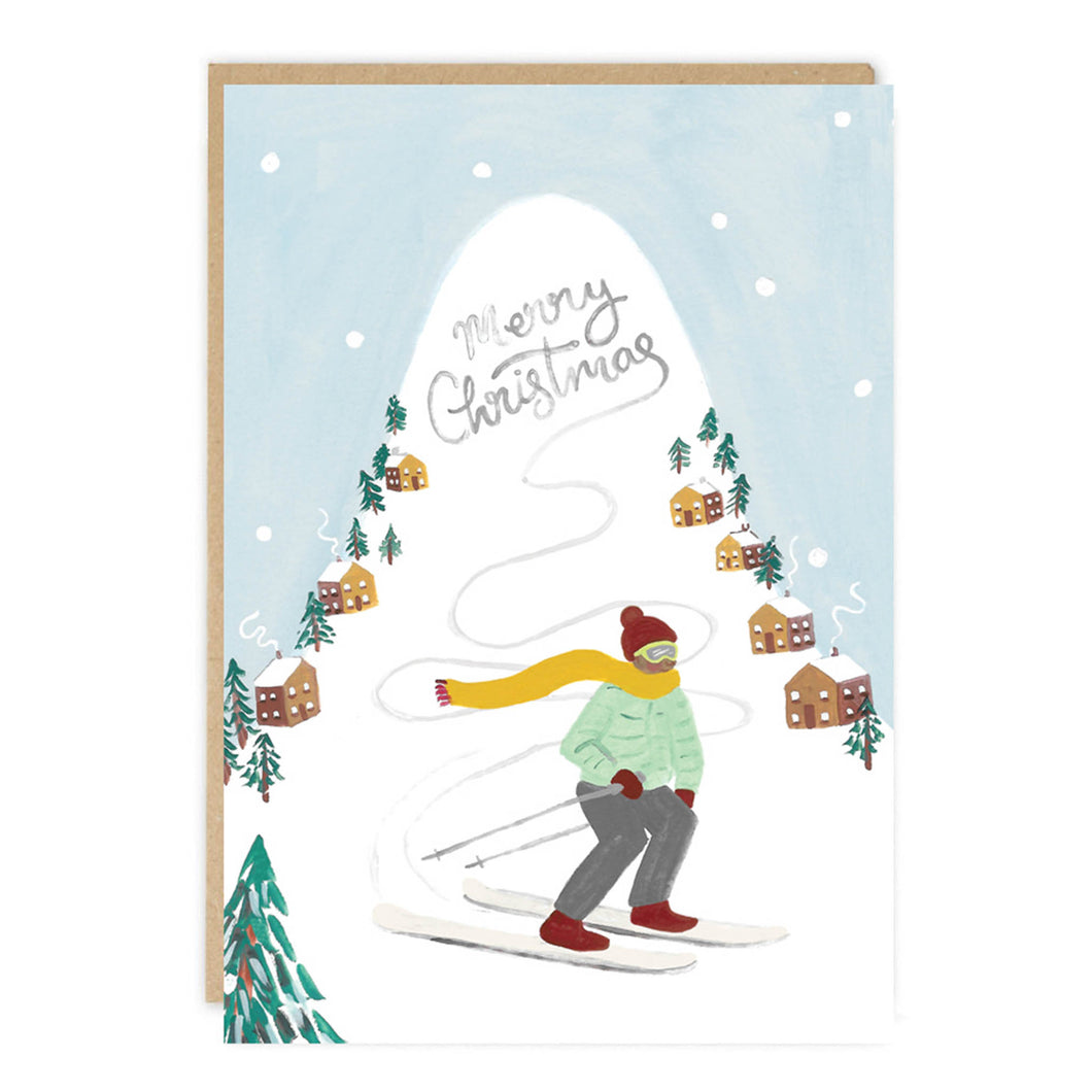 jade fisher christmas card verbier skiing