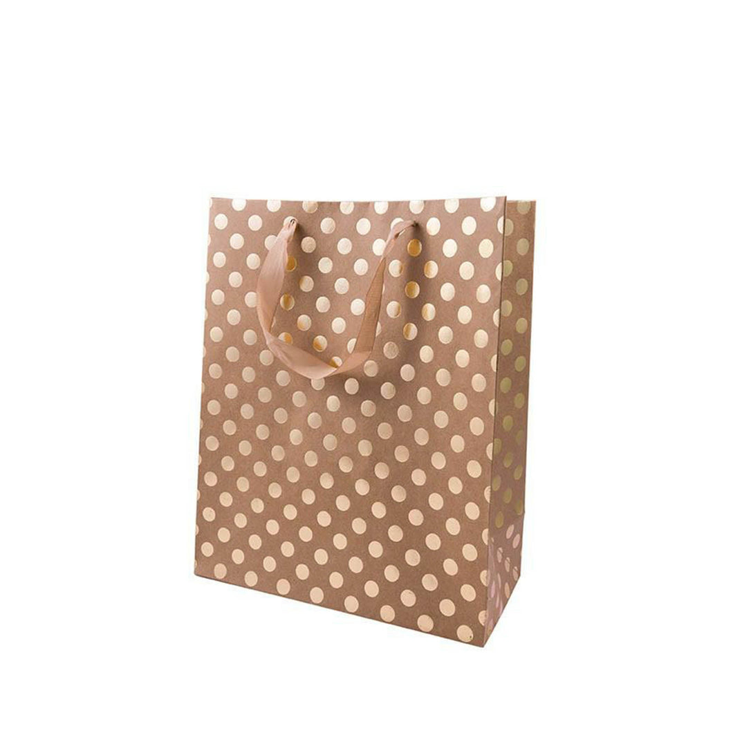 large kraft gold dot gift bag