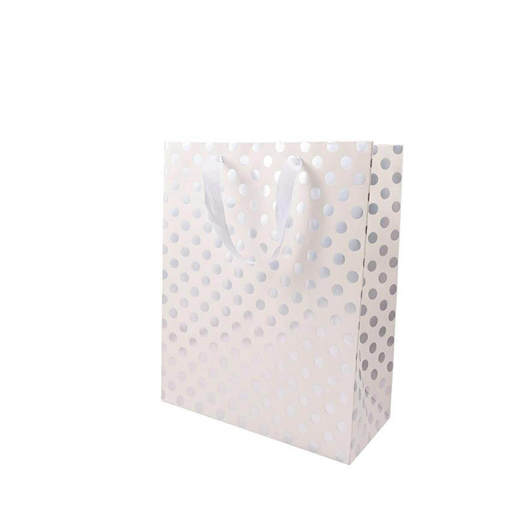large white silver dot gift bag