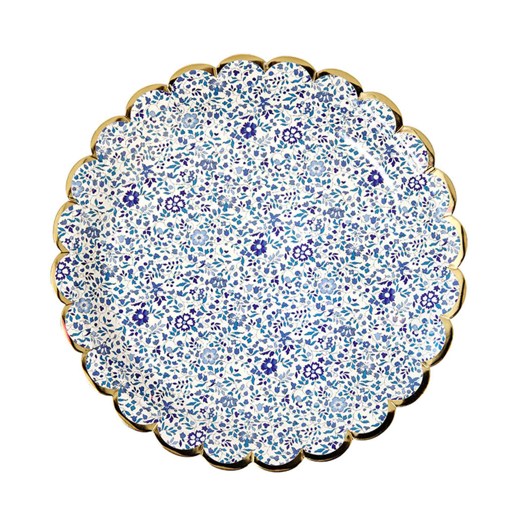 liberty floral print paper plates small blue