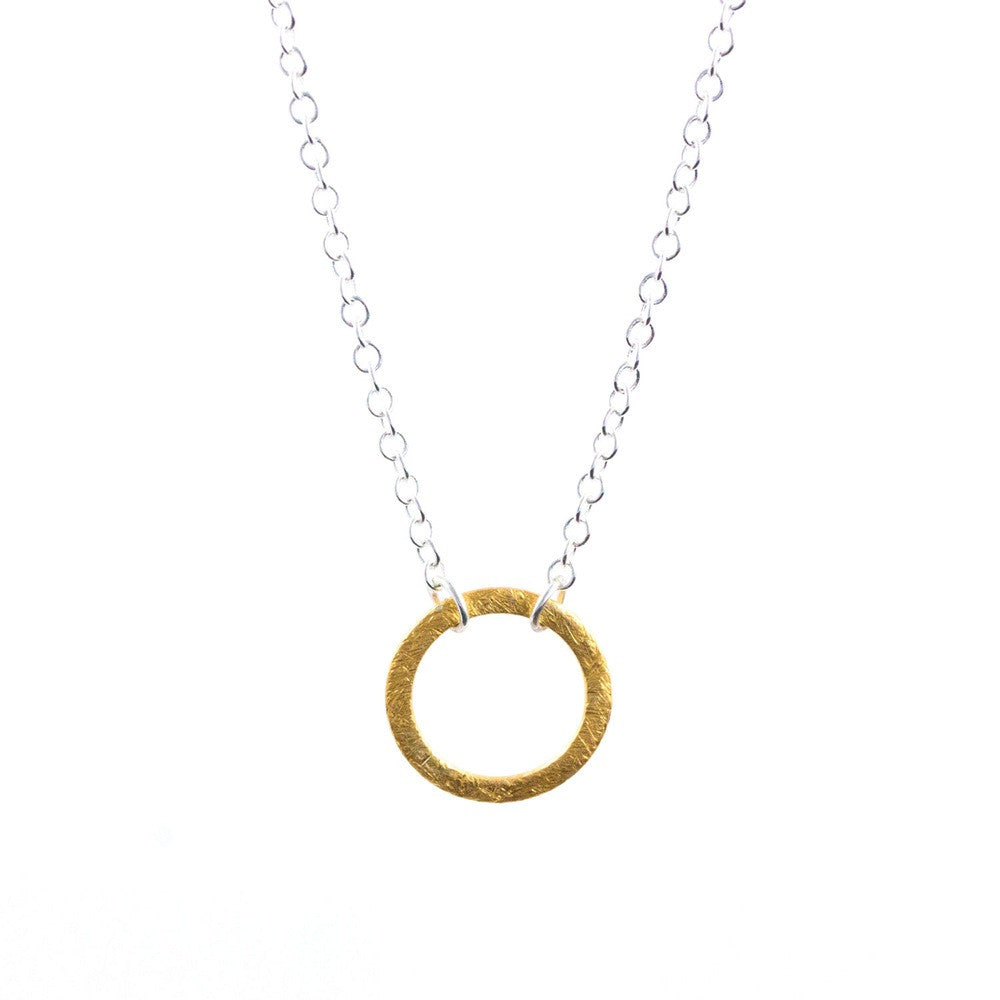 lily king silver   gold circle necklace close up