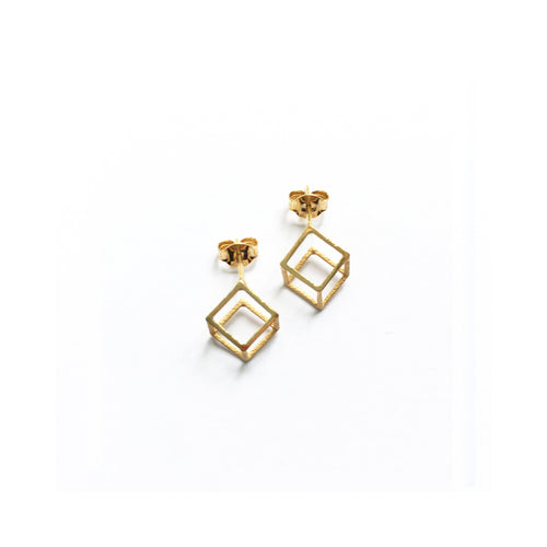 Lucy Priest Jewellery - Grid Cube Earrings - Gold