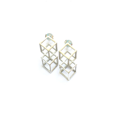 Lucy Priest Jewellery - Grid Stud Earrings - Silver