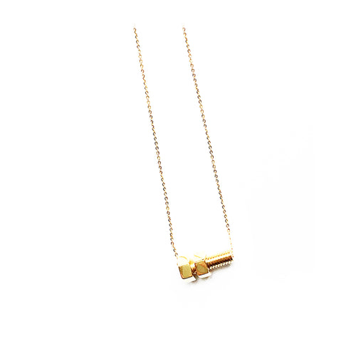 Lucy Priest Jewellery - Nut and Bolt Necklace - Gold