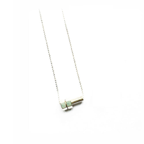 Lucy Priest Jewellery - Nut and Bolt Necklace - Silver