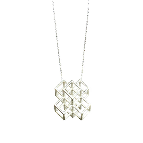 Lucy Priest Jewellery - Grid Cluster Necklace - Silver
