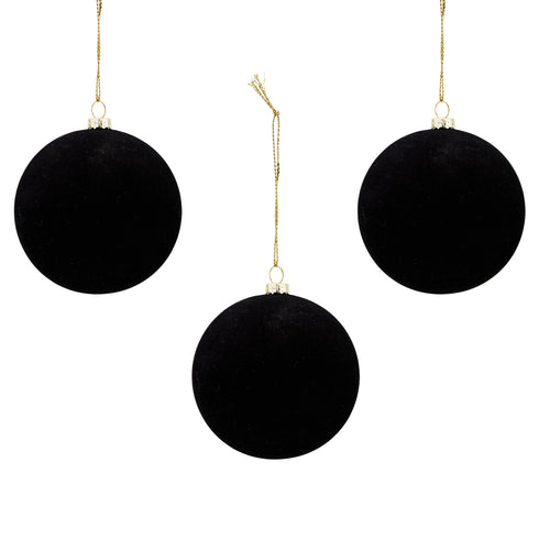 Madam Stoltz - Black Velvet Bauble Christmas Decoration - Medium - Set of 3