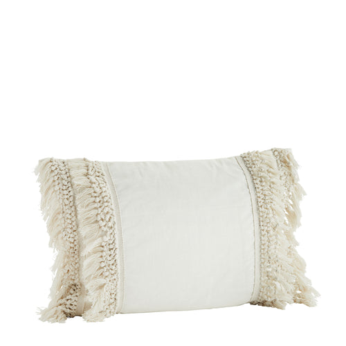 Madam Stoltz - Cream Tassled Cotton Cushion