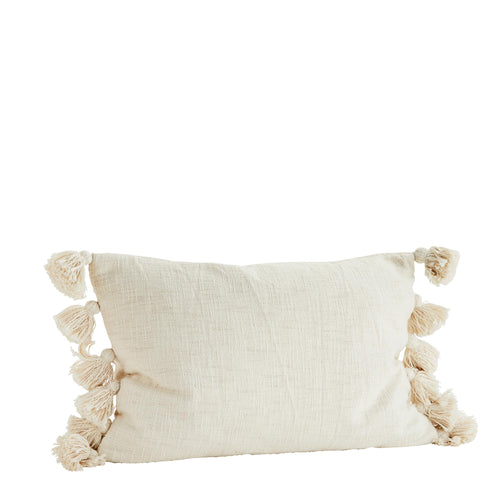 Madam Stoltz - Oblong Cream Cushion Cover with Tassel Edge
