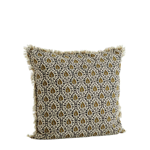 Madam Stoltz - Printed Pattern Cotton Cushion - Black/Olive/Cream