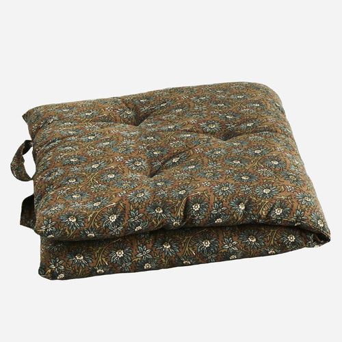 Madam Stoltz - Printed cotton mattress - Chesnut/Teal/Cream