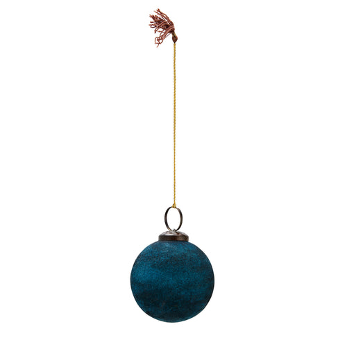 Madam Stoltz - Teal Velvet Bauble Christmas Decoration - Small