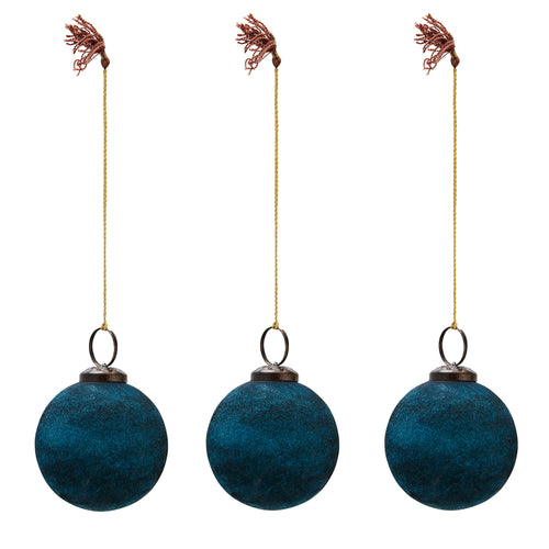 Madam Stoltz - Teal Velvet Bauble Christmas Decoration - Small - Set of 3