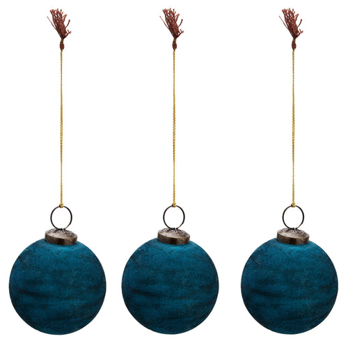 Madam Stoltz - Teal Velvet Bauble Christmas Decoration - Medium - Set of 3