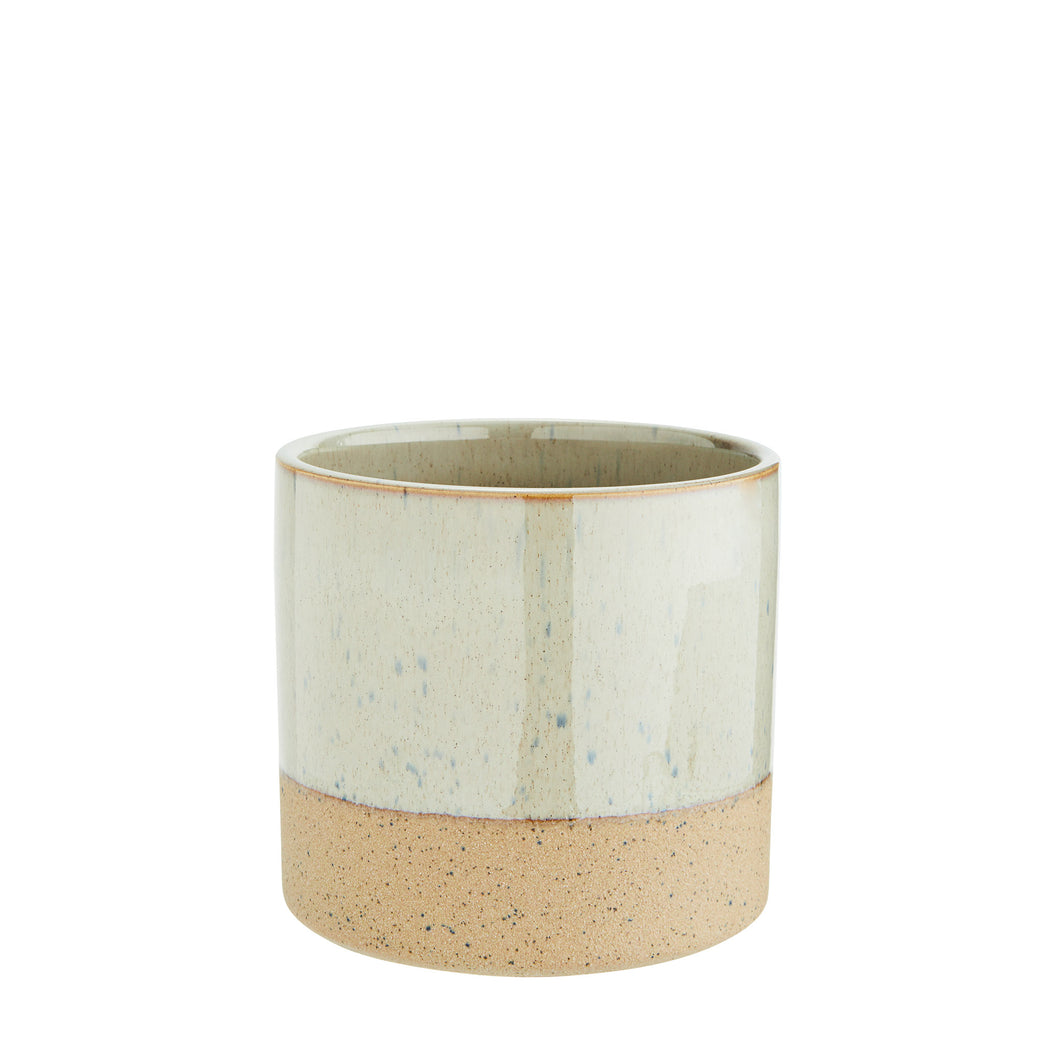 Madam Stoltz - Two Tone Flower Pot - Light Olive and Sand