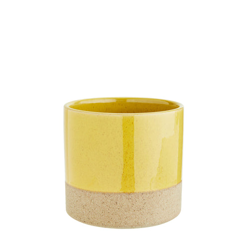 Madam Stoltz - Two Tone Flower Pot - Yellow and Sand