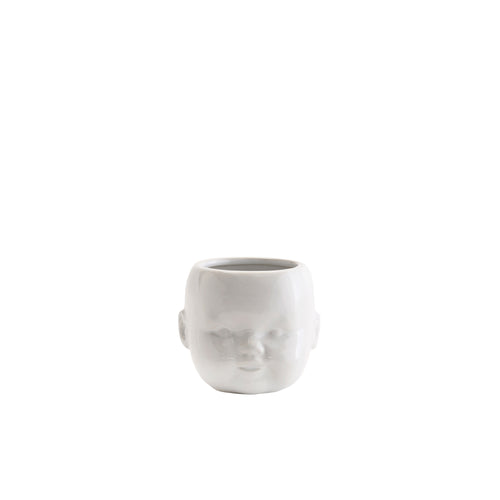 Madam Stoltz - White Flower Pot with Baby Face Imprint