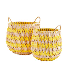 Madam Stoltz - Yellow Zig Zag Wicker Basket with Handles