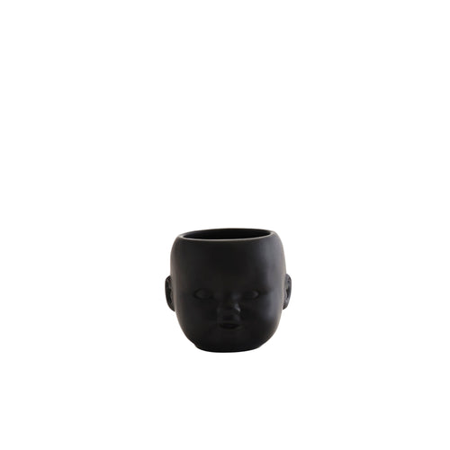 Madam Stoltz - Black Flower Pot with Baby Face Imprint