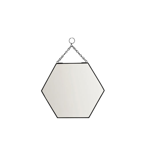madam stoltz black hexagonal mirror hexagon