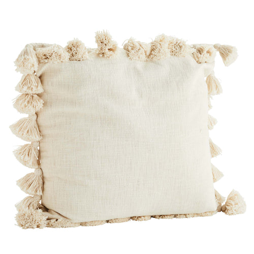Madam Stoltz - Extra Large Cream Cushion Cover with Tassel Edge