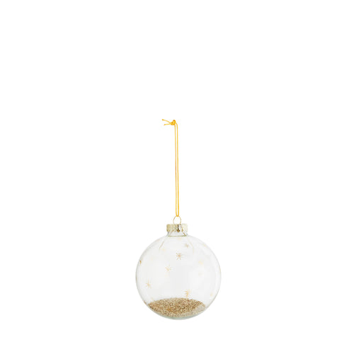 madam stoltz gold glitter filler glass bauble