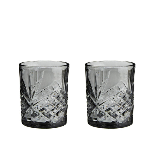 madam stoltz grey cut glass tumbler pair
