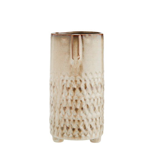 Madam Stoltz - Straight Sided Vase with Face Imprint - Beige