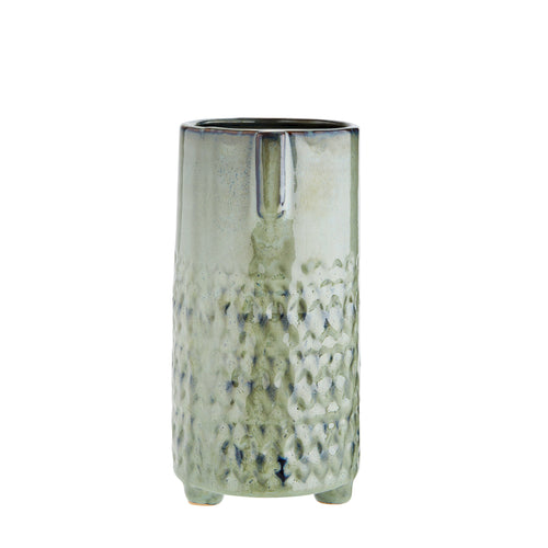 Madam Stoltz - Straight Sided Vase with Face Imprint - Green