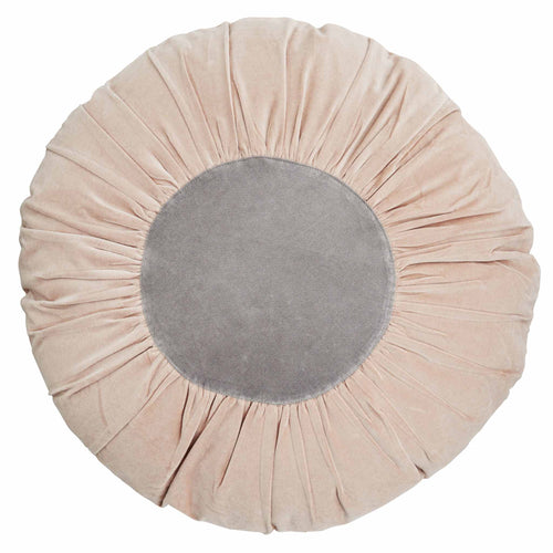 Madam Stoltz - Large Light Pink and Grey Round Velvet Cushion