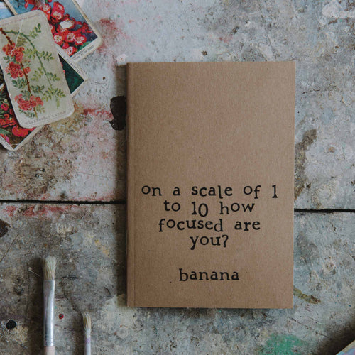 made by Shannon - Focused banana notebook