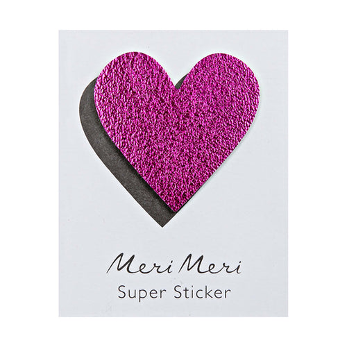 magenta leather heart sticker