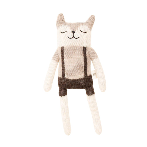 main sauvage Fawn Cat Knitted Soft Toy - overalls