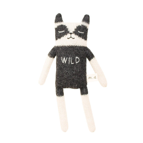 main sauvage Raccoon Knitted Soft Toy - Black and White