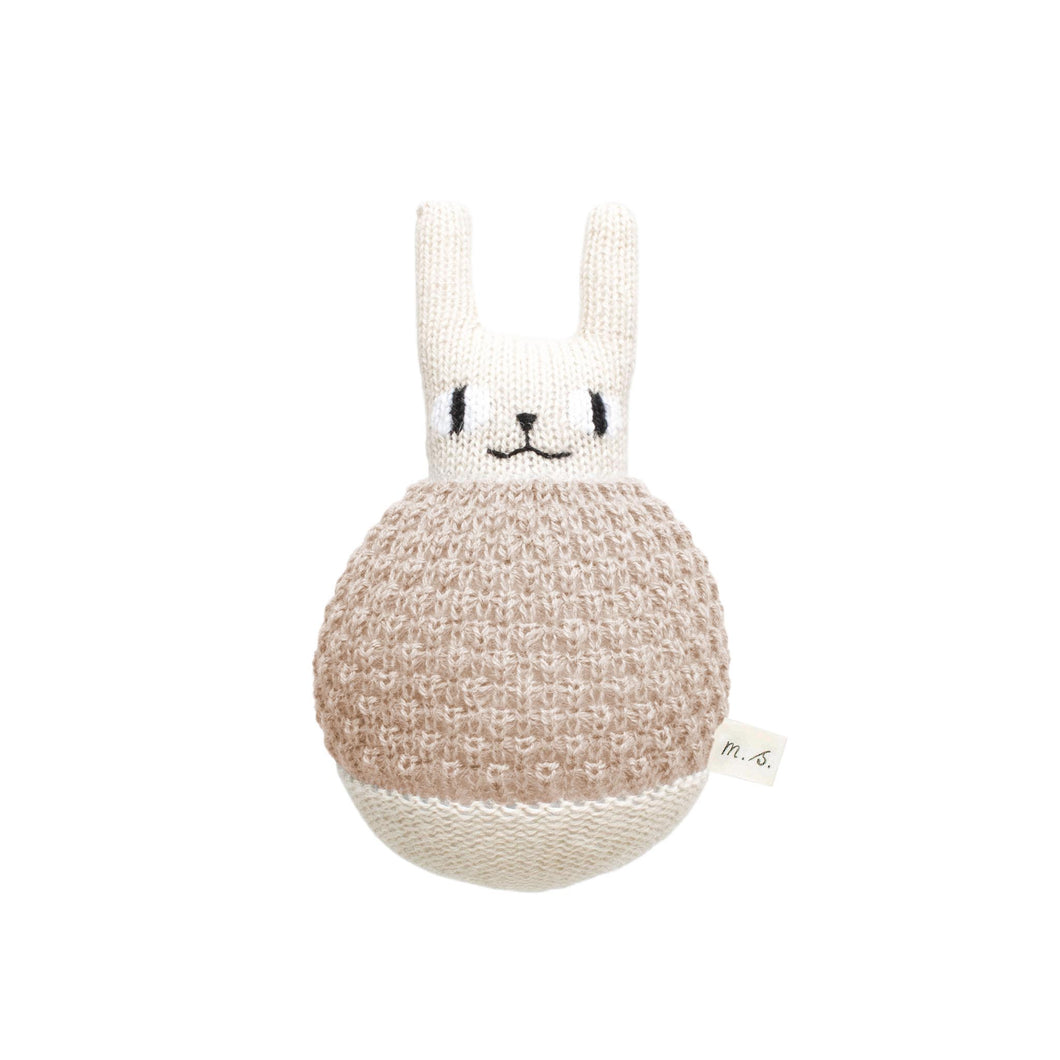 main sauvage Roly Poly Rabbit Knitted Soft Toy - Sand