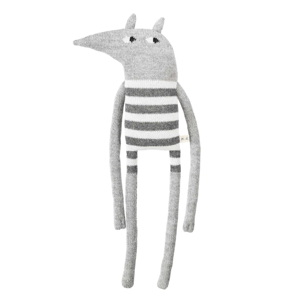 main sauvage grey Wolf Knitted Soft Toy - Striped