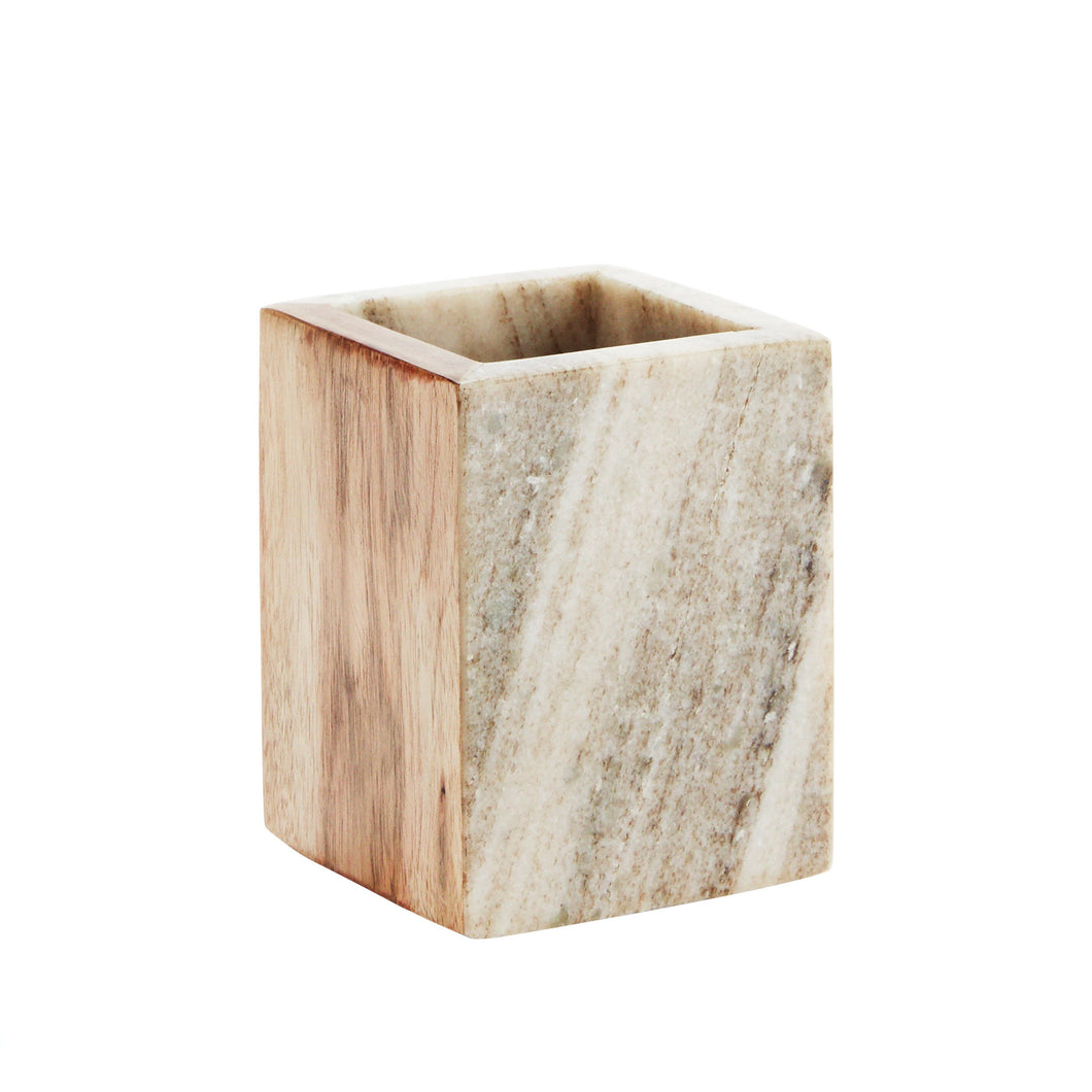 marble and wood pot