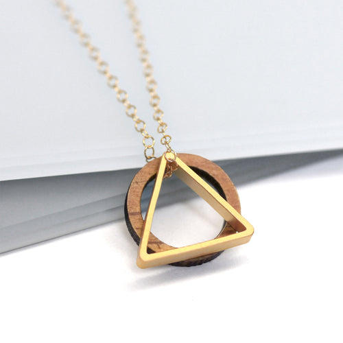 maria allen wooden circle gold triangle necklace