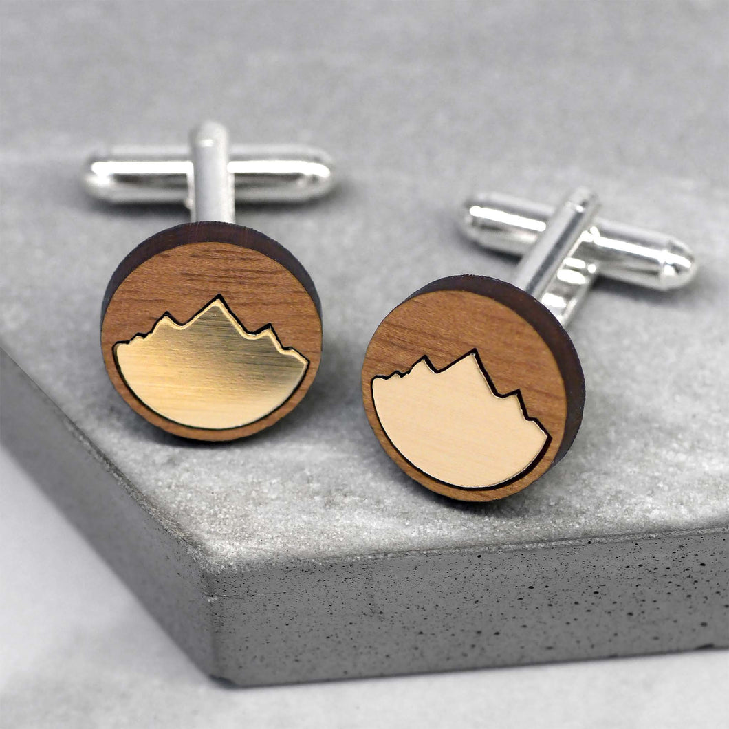 maria allen wooden cufflinks round gold mountain inlay