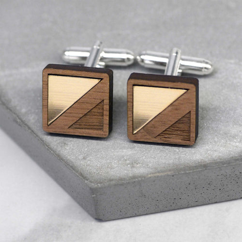maria allen wooden cufflinks square gold triangle inlay
